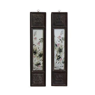 Chinese Vintage Pair Porcelain Wood Wall Panels Art For Sale