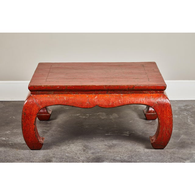 19th C. Red Crackle Lacquer Kang Table For Sale - Image 4 of 8