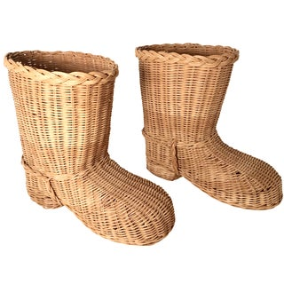 Country Style Wicker Boots - a Pair For Sale