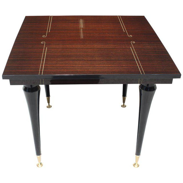 Gold 1940s Art Deco Exotic Macassar Ebony Square Center Table For Sale - Image 8 of 11