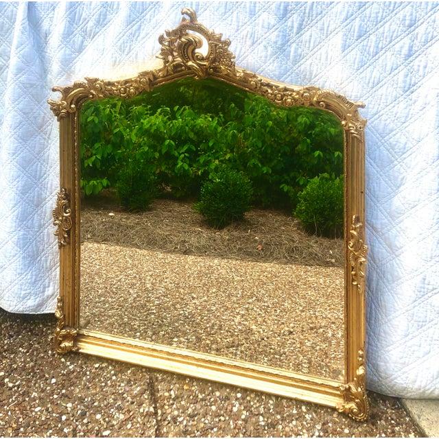 Antique Gold Gilt Wood Frame Beveled Mirror For Sale - Image 9 of 12