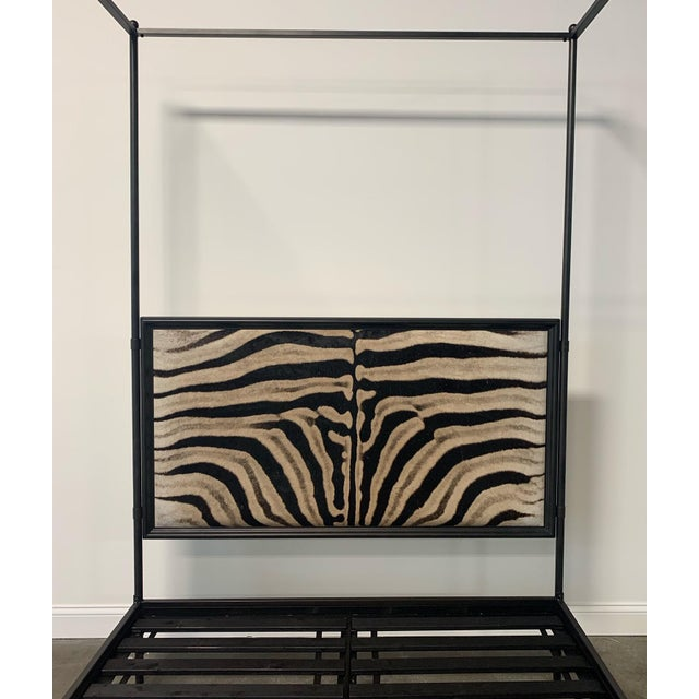 Contemporary Forsyth Iron Canopy and Zebra Hide Bed For Sale - Image 3 of 6
