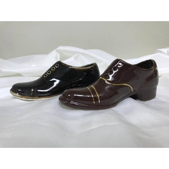 Brown 1950s Vintage Ceramic Miniature Loafer Shoe Planters- a Pair For Sale - Image 8 of 8