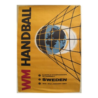 1967 World Men's Handball Championship Poster, Sweden For Sale