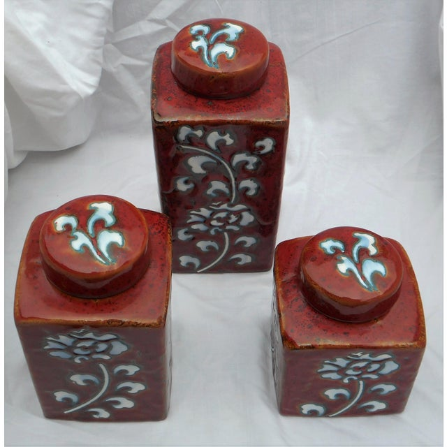 Chic Kitchen Oxblood Red Glaze Pottery Canisters - Set of 3 - Image 4 of 13