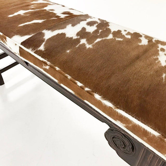 Forsyth One of a Kind Vintage Chinese Carved Bench with Custom Cowhide Cushion For Sale - Image 9 of 10