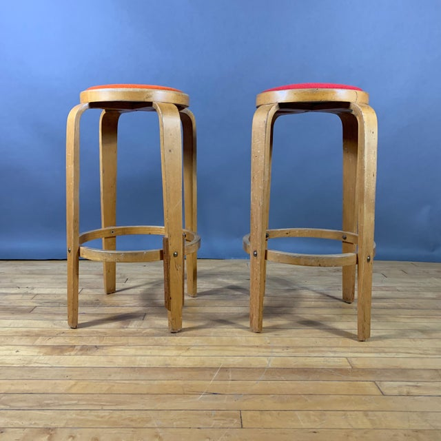 """Mid 20th Century Mid-Century Bentwood Birch 26"""" Stool, Wool Upholstery For Sale - Image 5 of 9"""