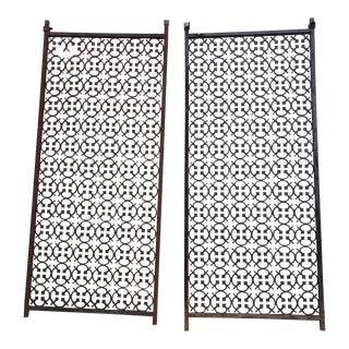 1950s Mid-Century Modern Architectural Cast Iron Panels - A Pair For Sale
