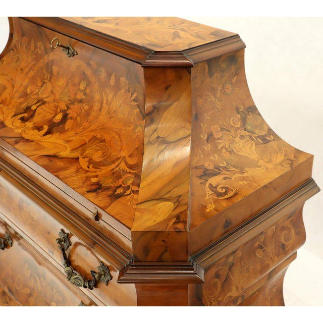 Baroque Italian Bombe Inlay Olive Wood Dresser Drop Front Jewerly Compartment Secretary For Sale - Image 3 of 13