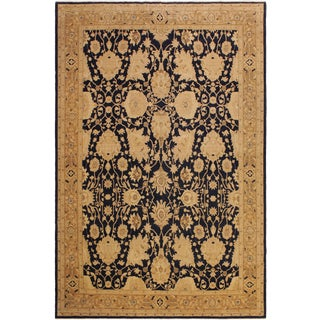 Semi-Antique Traditional Distressed Low-Pile Patty Drk. Blue/Dark Gold Wool Rug - 10'3 X 13'5 For Sale