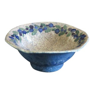 Josef Ekberg for Gustavsberg Ceramic Pottery Blueberry Bowl Fully Signed and Dated 1916 For Sale