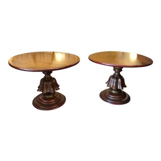 1970s Neoclassical Gilded Round End Tables - a Pair For Sale
