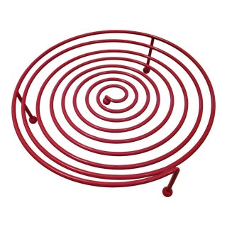 Memphis Style Red Spiral Postmodern Fruit Bowl For Sale