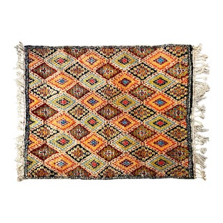 Vintage Morrocan Hand Knotted Wool Rug For Sale