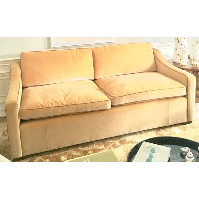 Luxury Mohair & Leather Trim Sofa For Sale - Image 9 of 9