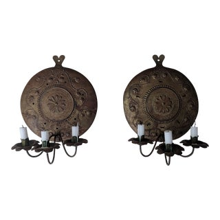 19th Century Italian Empire Pierced Brass Candle Sconces - A Pair