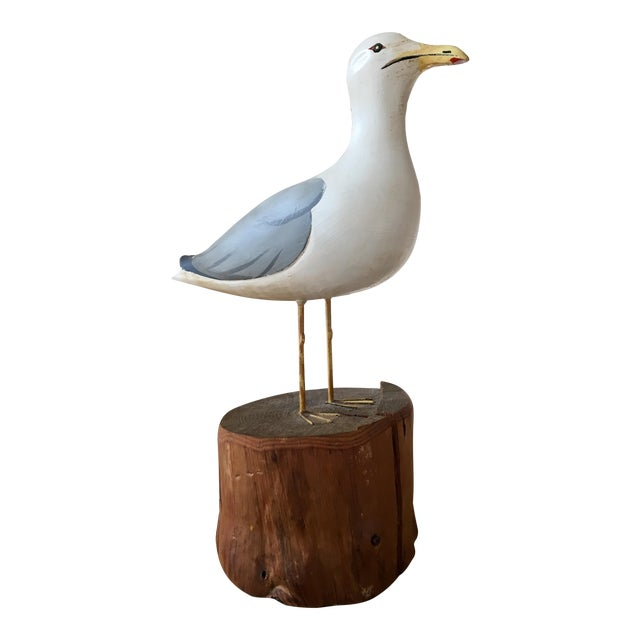 Wooden Seagull Mounted on Pedestal For Sale