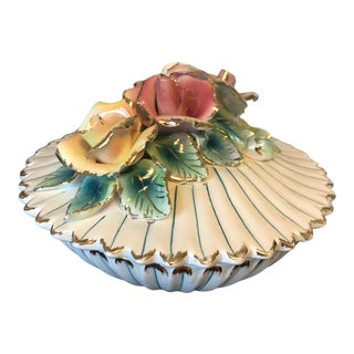 Vintage Majolica Lidded Flower Container With Gold Accents For Sale