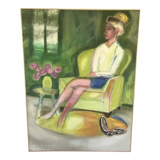 """""""Woman With Shoes Off"""" Contemporary Figurative Interior Scene Oil Painting, Framed For Sale"""