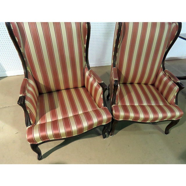 Louis XV Style Wingback Chairs - a Pair For Sale - Image 12 of 13