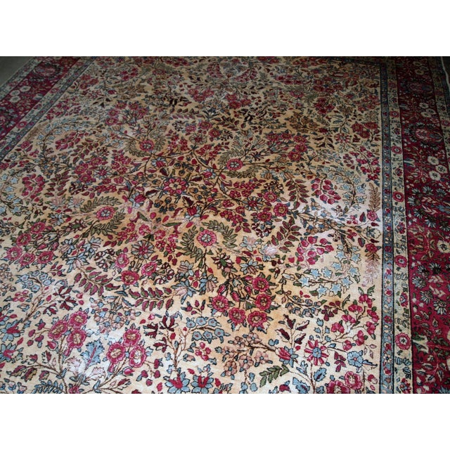 Country 1900s, Handmade Antique Persian Kerman Lavar Rug 8.9' X 11.6' - 1b701 For Sale - Image 3 of 13