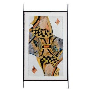 1965 Vintage Hannah H. Cohen - Queen of Diamonds Painting For Sale