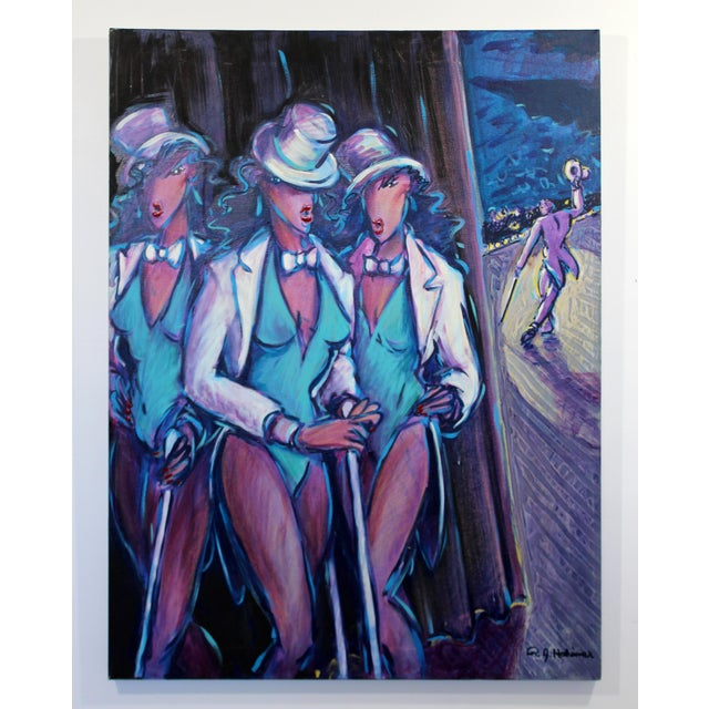 Acrylic Contemporary Memphis Style Acrylic Painting Signed 3 Graces Backstage 1980s For Sale - Image 7 of 7