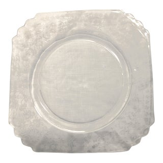 Vintage Clear Depression Glass Etched Square Lunch Plate Scalloped Edge For Sale