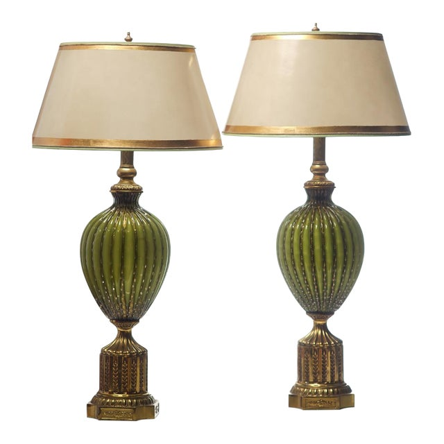 Vintage Italian Green and Gold Murano Lamps - a Pair For Sale