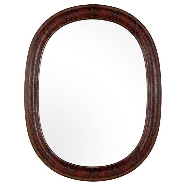 Mid-Century Modern Burgundy Leather Mirror With Embossed Print For Sale - Image 9 of 11