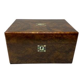 19th Century Burl Walnut Abalone Inlaid Box For Sale