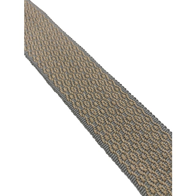 """Transitional Gray and Gold Dot Motif 1.5"""" Band Fabric Trim - 50 Yards For Sale"""