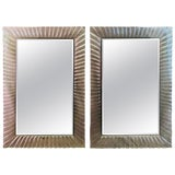 Image of Pair of Italian Beveled Mirrors Framed With Murano Style Art Glass For Sale