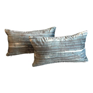 Kravet Couture Italian Chicattah Indigo Velvet Lumbar Pillows - A Pair For Sale