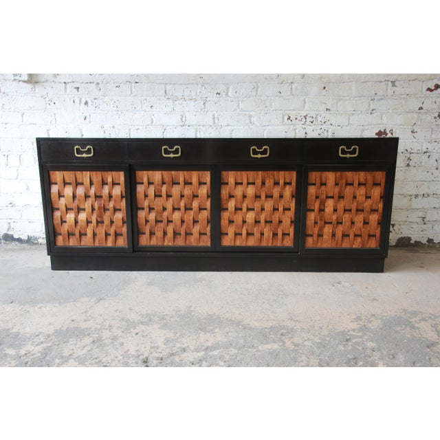 Edward Wormley for Dunbar Woven Front Sideboard Credenza For Sale - Image 13 of 13
