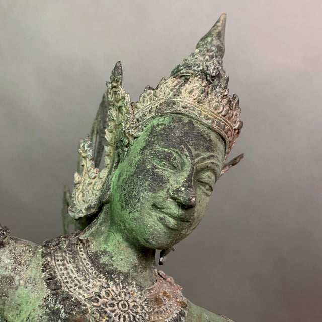 """Early 1900s Mythologic Kinnaris 30"""" Bronze Statue, Thailand For Sale In New York - Image 6 of 12"""