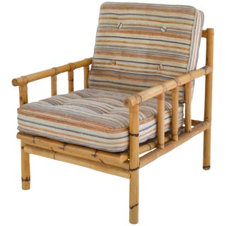 Midcentury Bamboo Club Chair For Sale