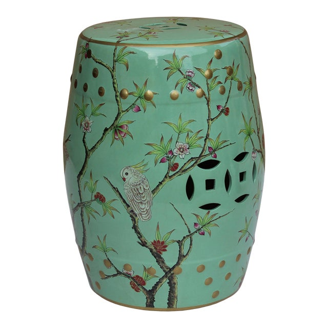 Handmade Pastel Blue Green Porcelain Bird Flower Round Stool Ottoman For Sale