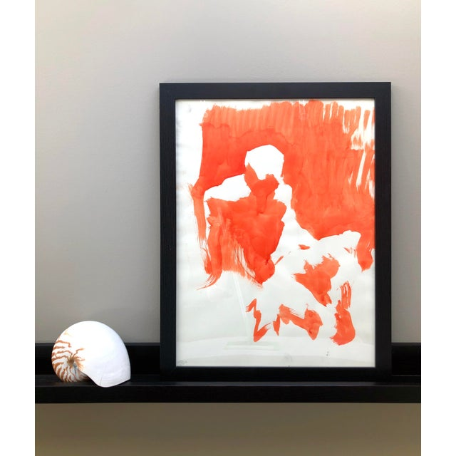 This is an original large figure painting, painted from a live model in orange ink by Artist David Orrin Smith, 2019. Ink...