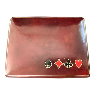 Vintage Italian Leather Card Holder With Poker Chips Made for Bloomingdales For Sale
