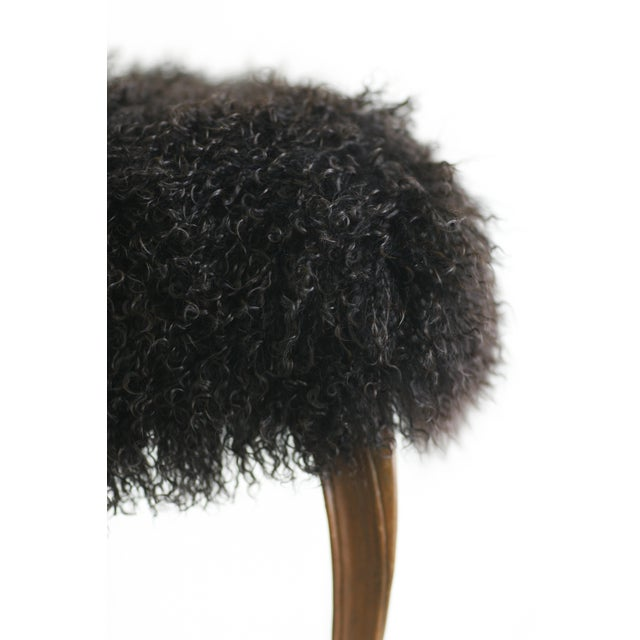 """Curly"" Mongolian Lamb Fur Footstool - Image 2 of 2"