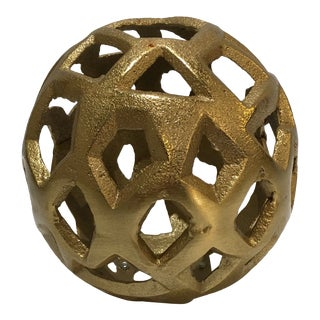 Perforated Sphere on Marble Base Decorative Object For Sale