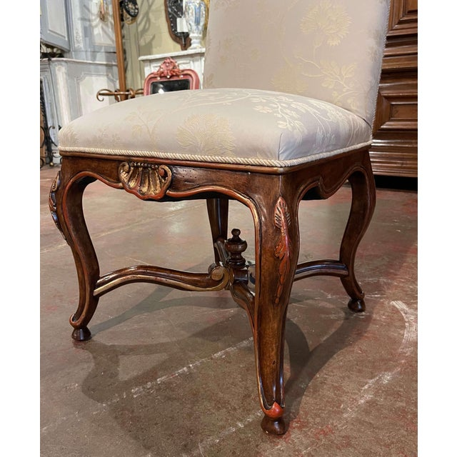 Set of Eight Louis XV Style Carved Walnut Dining Chairs From Minton-Spidell For Sale - Image 9 of 13