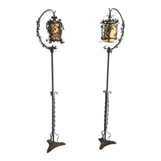 1920s Art Nouveau Wrought Iron Floor Lamps - a Pair For Sale