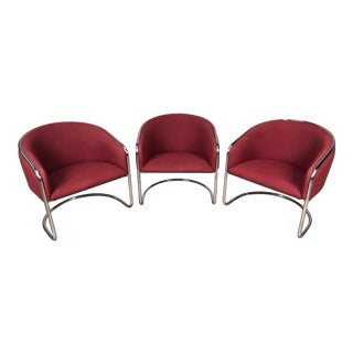 Thonet Mid-Century Modern Chrome Cantilever Lounge Chair ~ Set of 3 For Sale