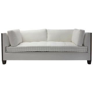 Custom Sofa With Wood Surround at Arms With Loose Back and Side Cushions For Sale