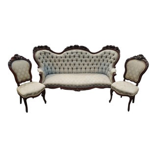 Antique Victorian Carved Tufted Sitting Three Piece Parlor Set For Sale
