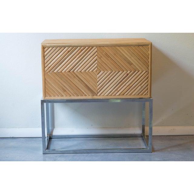 Milo Baughman Split Bamboo Rattan Nightstand Table - Image 3 of 7