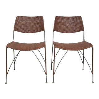 Rattan Dining Chairs- A Pair For Sale