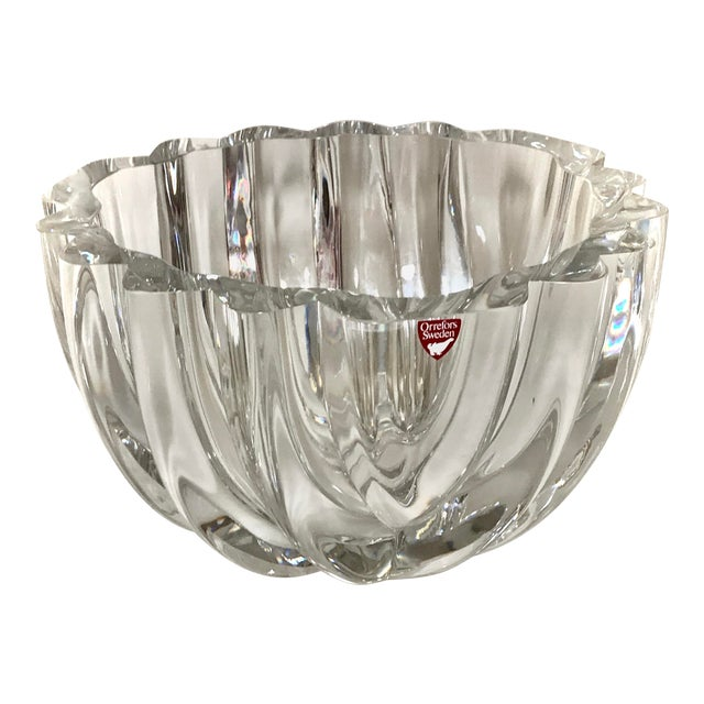 1970s Orrefors Swedish Signed Crystal Isabella Bowl For Sale
